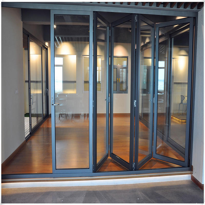 Aluminum Frame Double Tempered Glass Folding Door