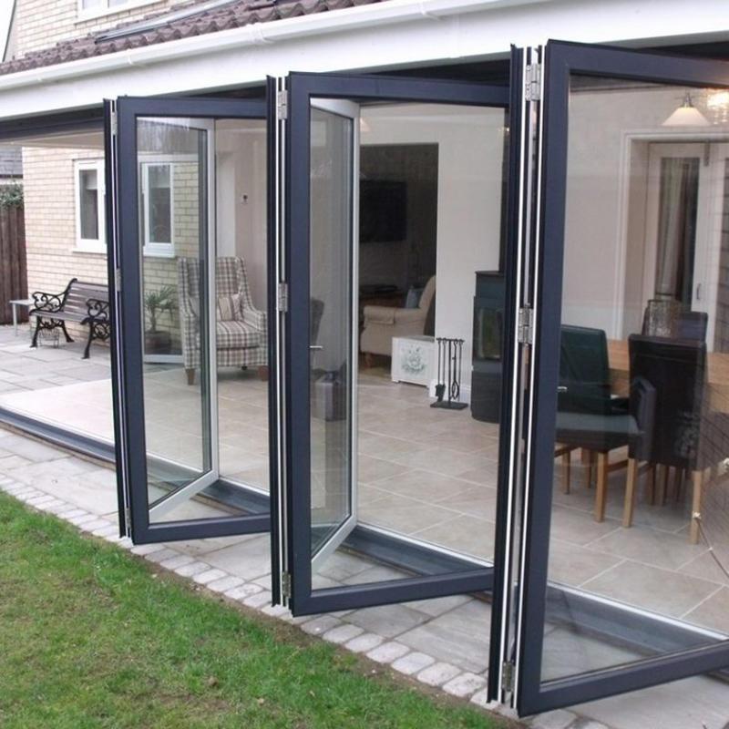 High Quality Aluminum Frame Tempered Glass Folding Door