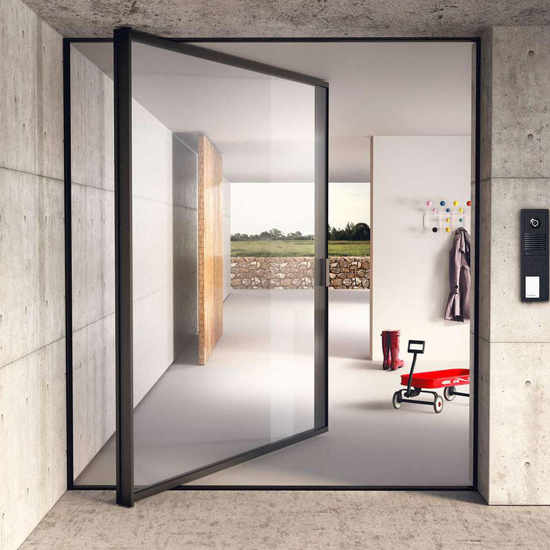 Beautiful Appearance Double Tempered Glass Aluminum Swing Door