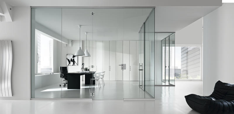 High quality laminated  frameless glass sliding door