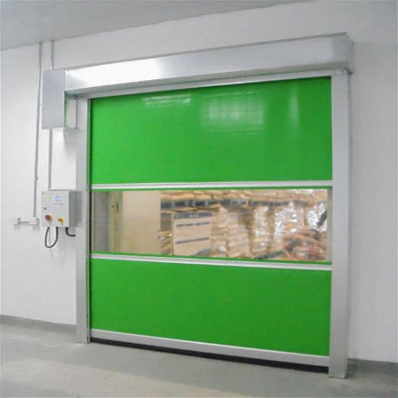 Green Automatic Vertical  High speed PVC shutter door