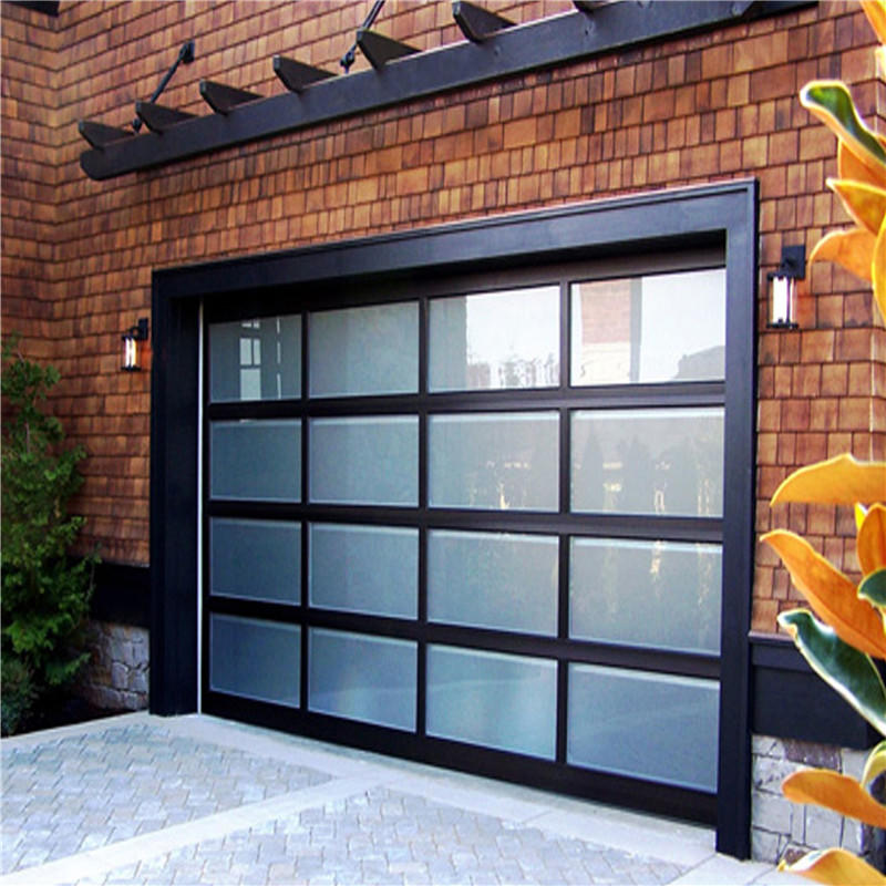 Automatic Aluminum Frame with Tempered/Frosted Glass Garage Door