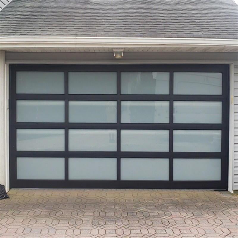 Black Aluminum Frame Automatic Glass Sectional Garage Doors for House