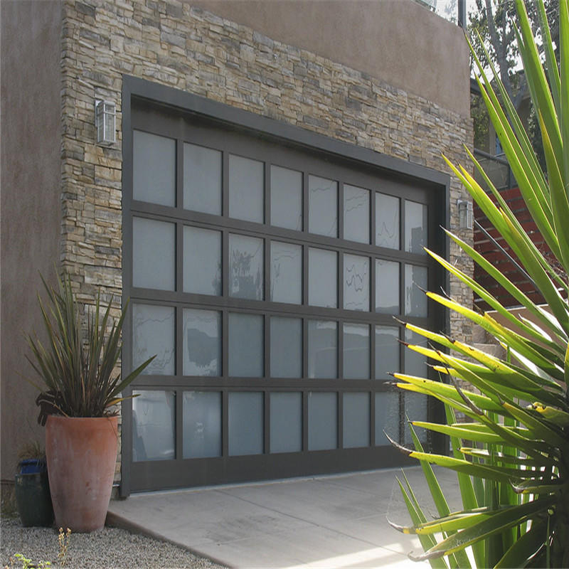 Customized aluminum with clear/frosted glass garage door for sale
