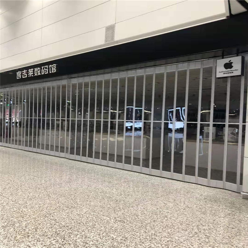 Transparent polycarbonate folding door sliding for mall
