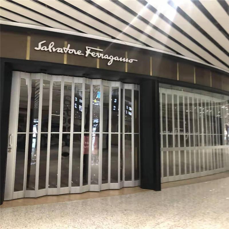 Transparent polycarbonate folding door sliding for mall