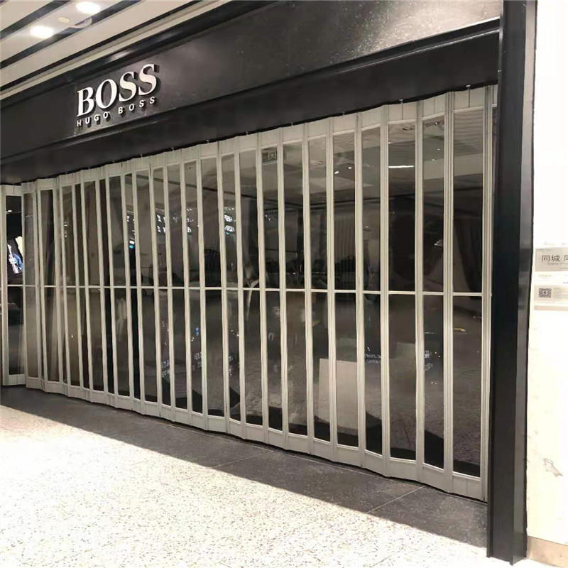 Commercial PC folding door transparent bifold door for supermarket