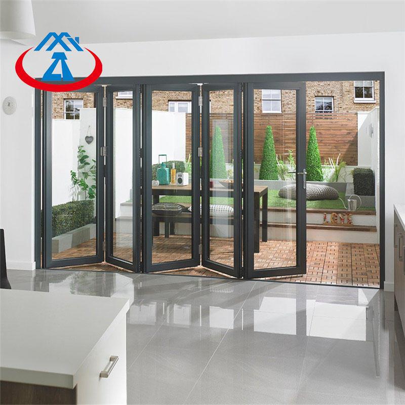 Aluminum glass folding door bifold door with tempered double glass