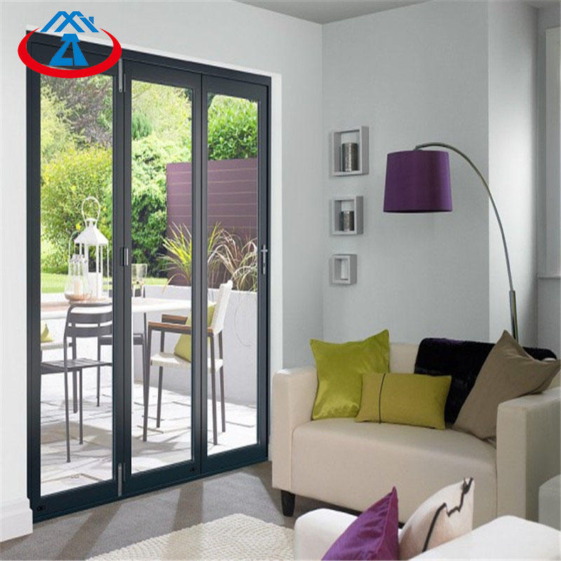 Aluminum glass folding door bifold door with tempered double glass