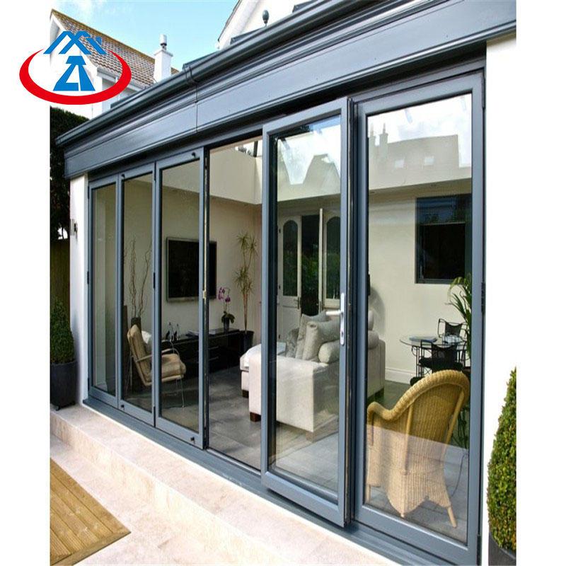 Aluminum exterior bifolding door with double tempered glass