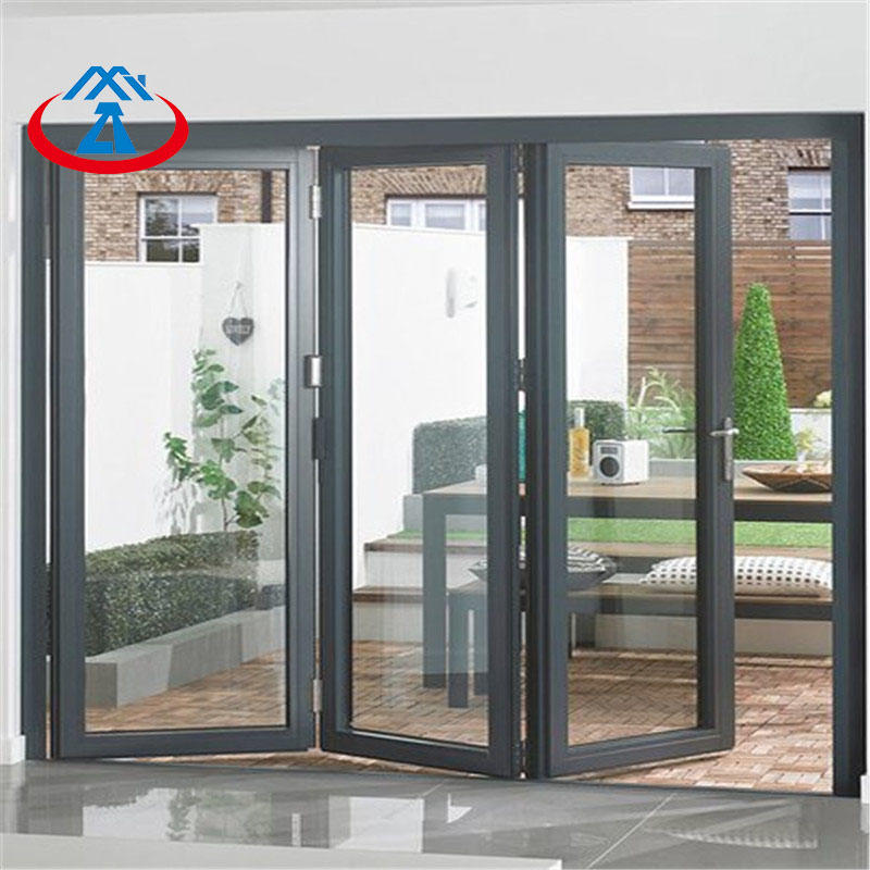 Aluminum exterior bifolding door with double tempered glass
