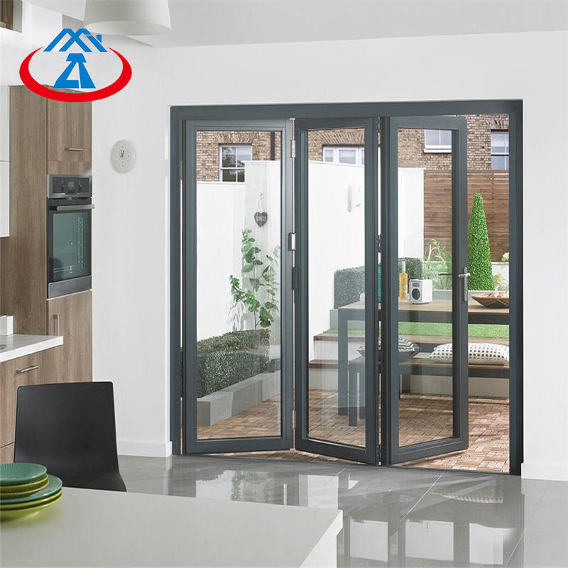 Double glass aluminum folding door glass bifold door