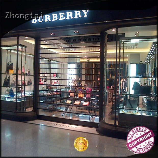 Zhongtai transparent shop shutter prices factory for clothing store
