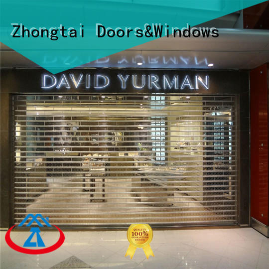 Zhongtai Top shop shutter prices factory for window display